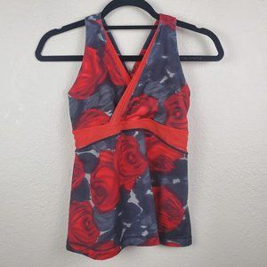 Lululemon Tank Top Red Roses Pattern